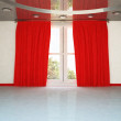A big window and the red curtain, - Zdjcie stockowe