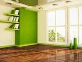 Cena de design de interiores com uma grande janela, — Foto Stock