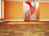 Prachtige wenteltrap in de kamer — Stockfoto