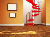 Beautiful spiral staircase in the room — Stock Photo