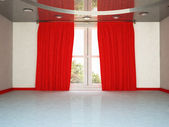 A big window and the red curtain, — Stock Photo