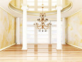 Columns and a chandelier — Stock Photo