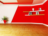 A room in white and red colors — Stock Photo