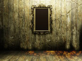 Antique mirror in a dark room — Stock Photo