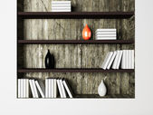 The vases and the books on the shelves — Stock Photo