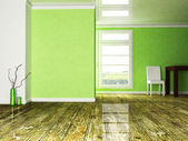 A room in the green colors — 图库照片