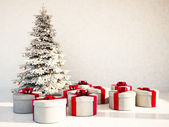 Christmas tree and gifts in the room — Stock Photo