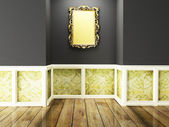 A rich mirror on the dark wall, — Stock Photo