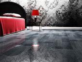 Schöne klassische lampe neben einem bett — Stockfoto