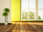 Big window and a plant — Stockfoto