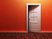 Witte geopende deur in de lege ruimte — Stockfoto