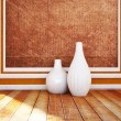 Two windows and the vases — Stock Photo