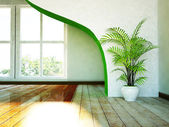 A big window and a vase with a plant — Stock Photo