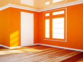 Empty room with a white door and a window — Stock Photo