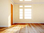 Empty room with a wooden door and a window — Foto de Stock
