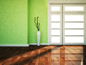 A big window and a vase — Stock Photo