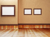 Three beautiful paintings on the wall, — Stock Photo