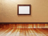 Empty room with a wooden floor and a picture — Stock Photo
