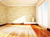 Büyük bir pencere ve vazo boş oda — Stok fotoğraf
