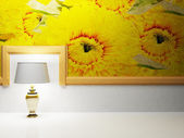 A lamp is standing in the empty room — Stock Photo