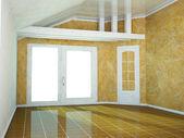 Lege ruimte met een groot raam — Stockfoto