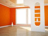 Interior design scene with a window, — Stock Photo