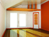 Empty room with a big window and the door — Stockfoto