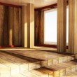 Stock Photo: Empty attic wooden room
