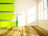 A green vase in the bright room — Stock Photo