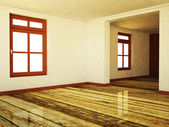 Empty room in warm colors with two windows — Stock Photo