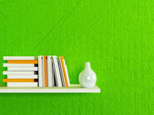 Bookshelf on the wall  — Stock Photo