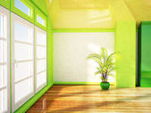 A bright room with the big window — Stock Photo