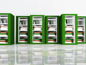 Many books in the bookcases — Stock Photo