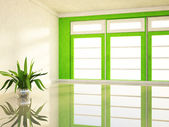 Big window and a plant  — Stock Photo