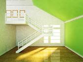 Sala com uma escada e uma janela — Fotografia Stock