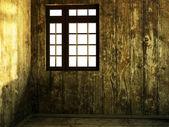 Empty  dark room with the window — Stockfoto