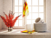 Plates with cups on the  table — Stock Photo