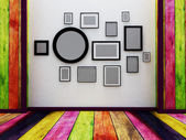 Many pictures on the wall — Stock Photo