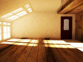 An empty attic  with the window — Stock Photo