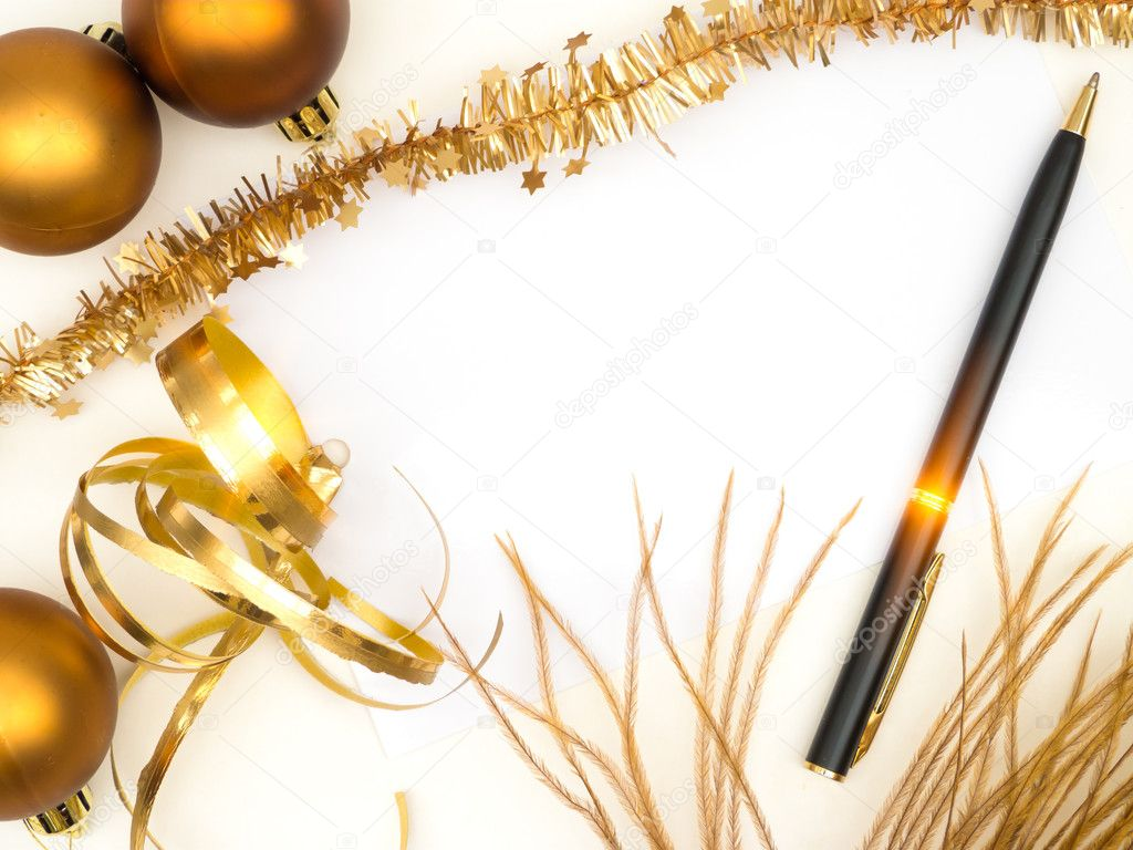 Blank christmas card with golden decoration and black pen — Stockfoto #13163819