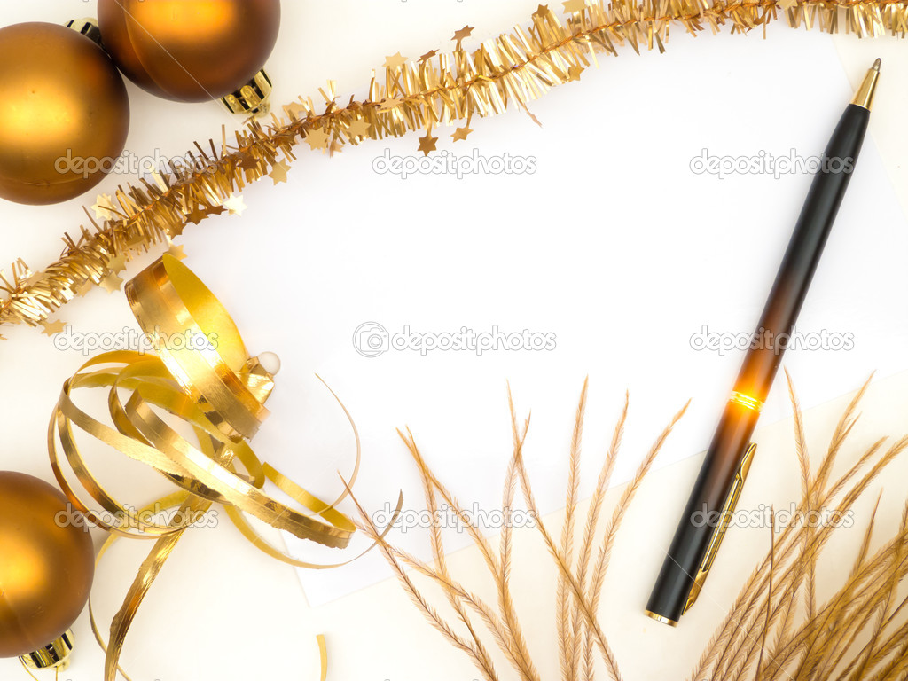 Blank christmas card with golden decoration and black pen    #13163819