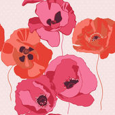 Seamless background with poppies flower — Stock Vector
