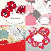 Jeu de cartes décoratives avec des roses et des coquelicots — Vecteur