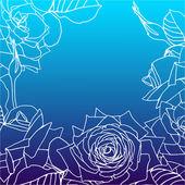 Sfondo decorativo con rose e posto per testo — Vettoriale Stock