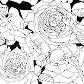 Vector background with black and white roses — Stock Vector