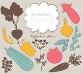 Arrière-plan de menu avec des silhouettes de légumes — Vecteur