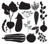 Vector set of artistic vegetables silhouettes — Stock Vector