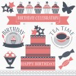 Stock Vector: Set of birthday icons in retro colors.