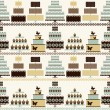 Seamless pattern with decorative cakes in retro colors. — Stock Vector