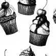 Seamless vector pattern with hand drawn cakes. — Stockvectorbeeld